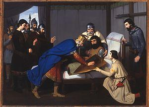 Muerte de Wifredo el Velloso de Claudio Lorenzale, 1843