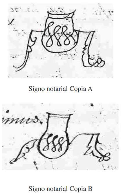 Signos notariales Copia A y Copia B