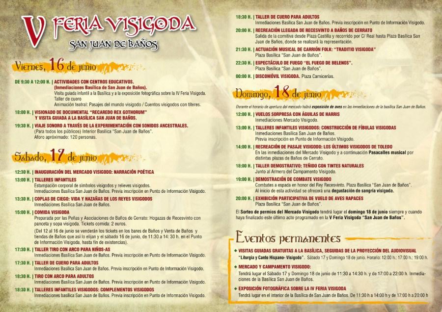 Programa V Feria Visigoda 2017 San Juan de Baños