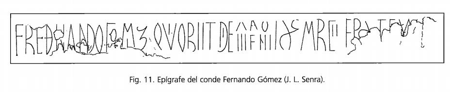 Epitafio del conde Fernando Gómez de Carrión y Saldaña en San Zoilo