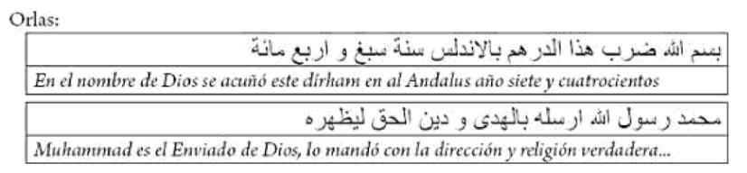 Orlas moneda Mubarak y Muzzafar de Valencia año 407H