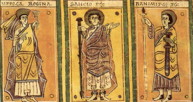 Retratos de Sancho II Garcés, su esposa Urraca Fernández y su hermano Ramiro Garcés en el Códice Albeldense
