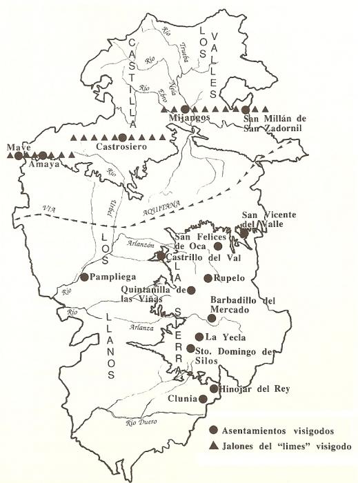 Asentamientos visigodos en la provincia de Burgos