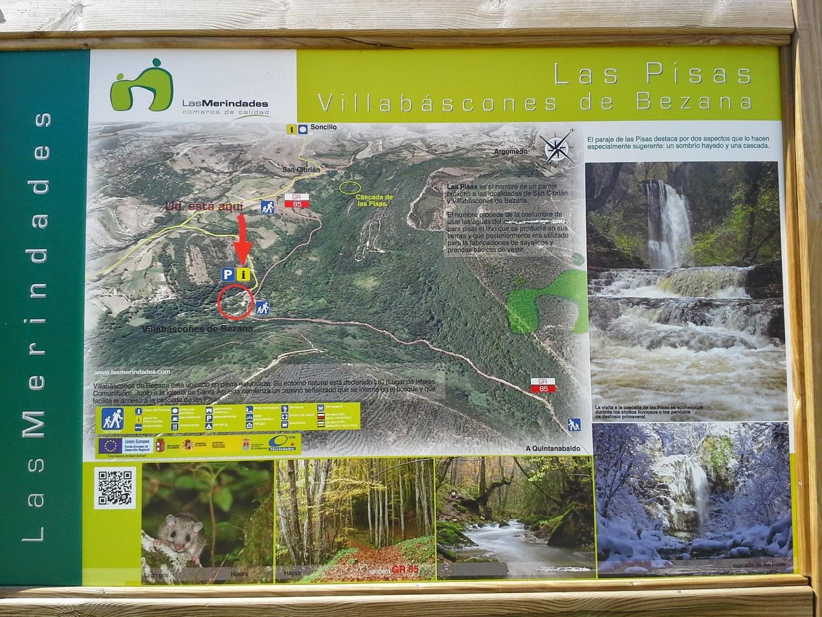Cartel informativo sendero a la Cascada de Las Pisas