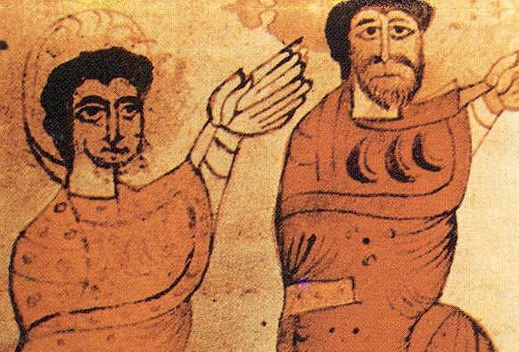 Miniatura de Ramiro I ( a la derecha) del siglo XII