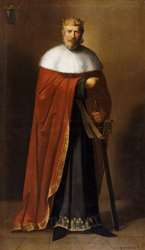 Óleo de Ramiro I de Aragón por Manuel Aguirre y Monsalbe, 1885.