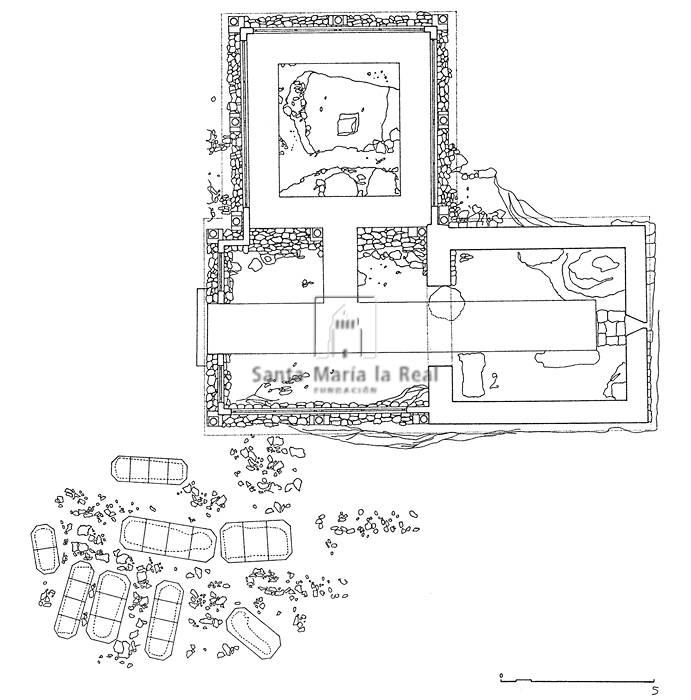Plano yacimiento arqueológico de la ermita de Santa Cruz de Valdezate. Enciclopedia del Románico Digital