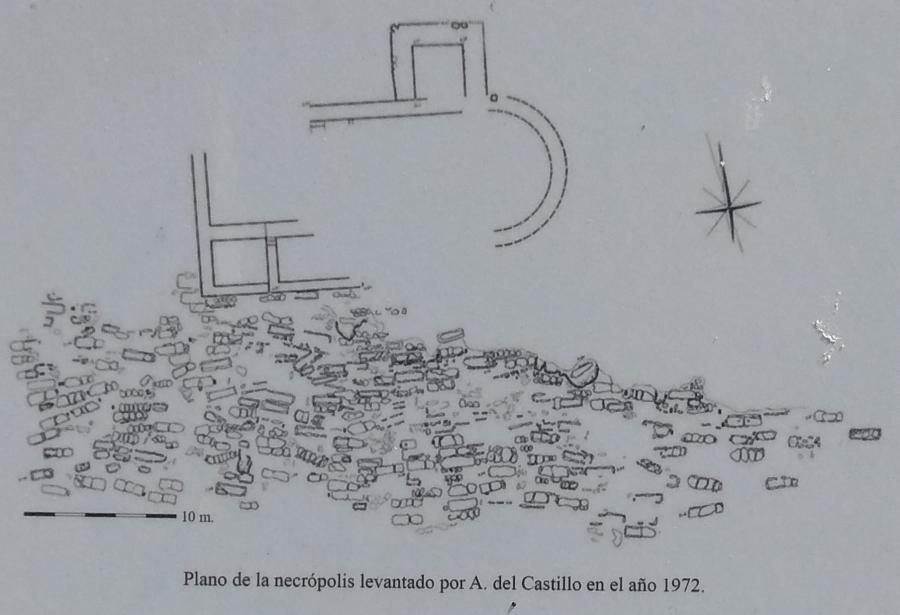 Plano de la necrópolis de El Castillo de Palacios de la Sierra en 1972