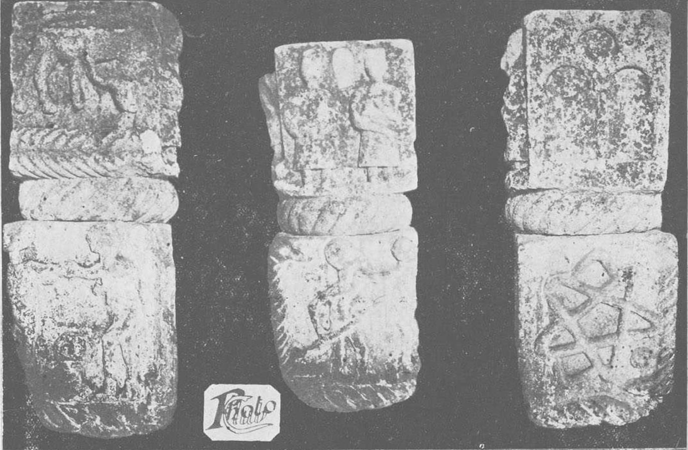 Capiteles prerrománicos hallados en la década de 1920 en San Pedro de Tejada
