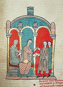 El conde Ramón Berenguer I y su esposa Almodís. Liber Feudorum Maior, (Archivo de la Corona de Aragón, Cancillería, Registros, n.º 1, fol. 83bis), h. 1200