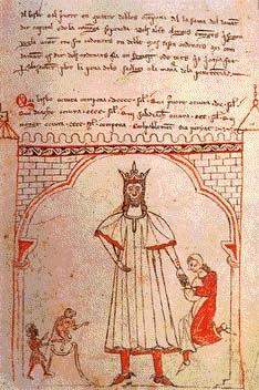 Ramón Berenguer I recibiendo un homenaje. Miniatura de una edición de los Usatges. Biblioteca del Monasterio de San Lorenzao del Escorial, Ms. Z-III-14 f.23v
