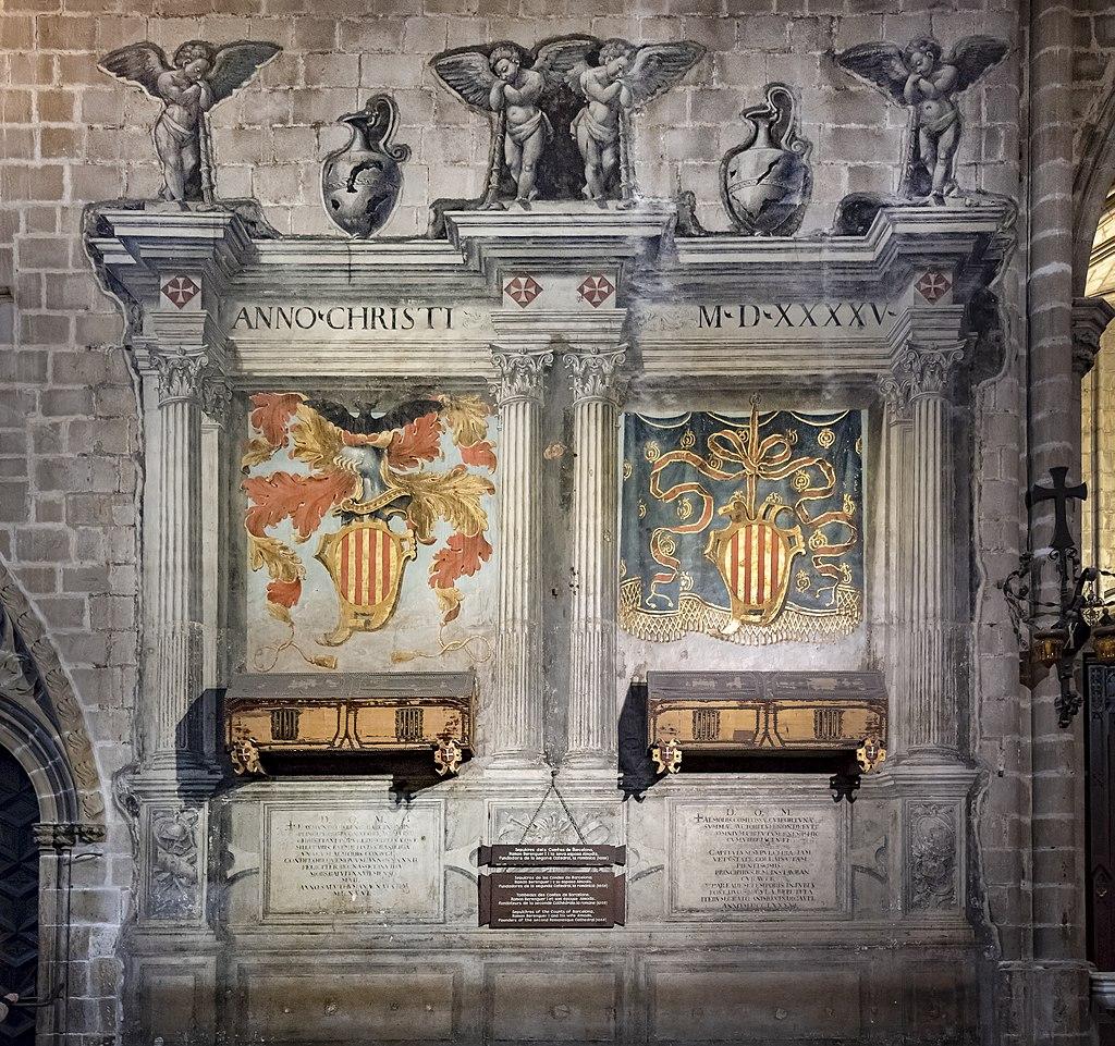 Sepulcros de Ramón Berenguer I y Almodis en la catedral de Santa Eulalia de barcelona