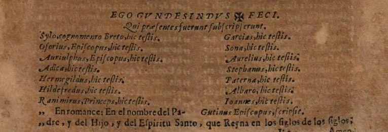 Transcripción del testamento del conde Gundesindo en la Chronica de los Príncipes de Asturias y Cantabria de Francisco Sota (1684)