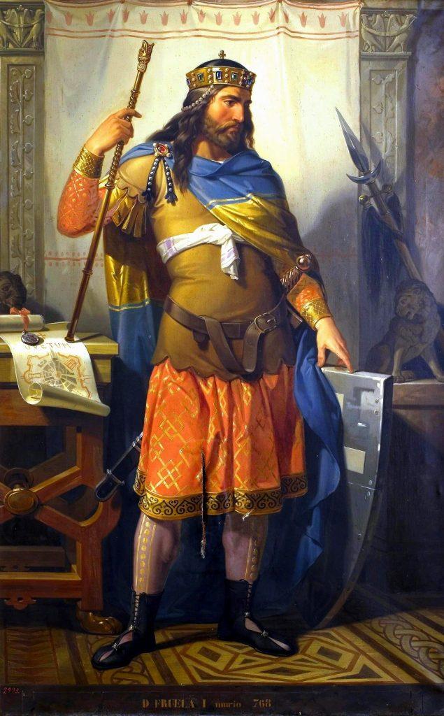 Fruela I de Asturias según el pintor Bernardino Montañés Pérez. Perteneciente al Museo del Pardo, hoy en día en el Museo de Covadonga