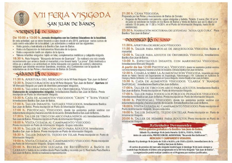 Programa VII Feria Visigoda San Juan de Baños 2019