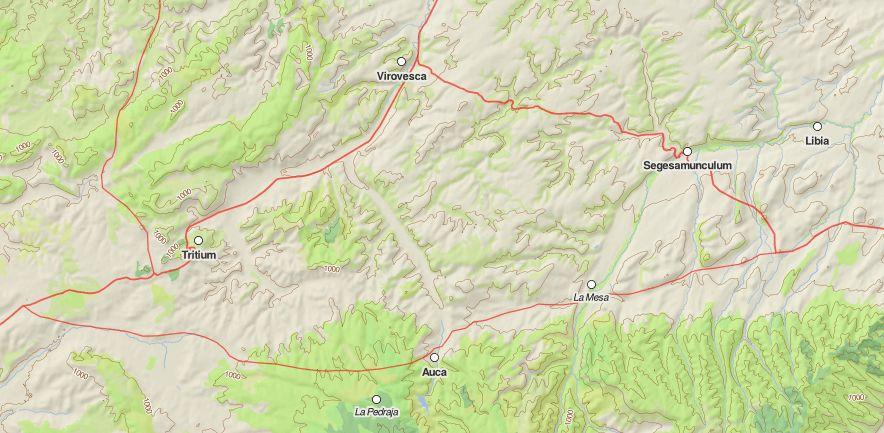 Ramal de calzada romana que pasaba por Auca. Mapa tomado de http://dare.ht.lu.se/