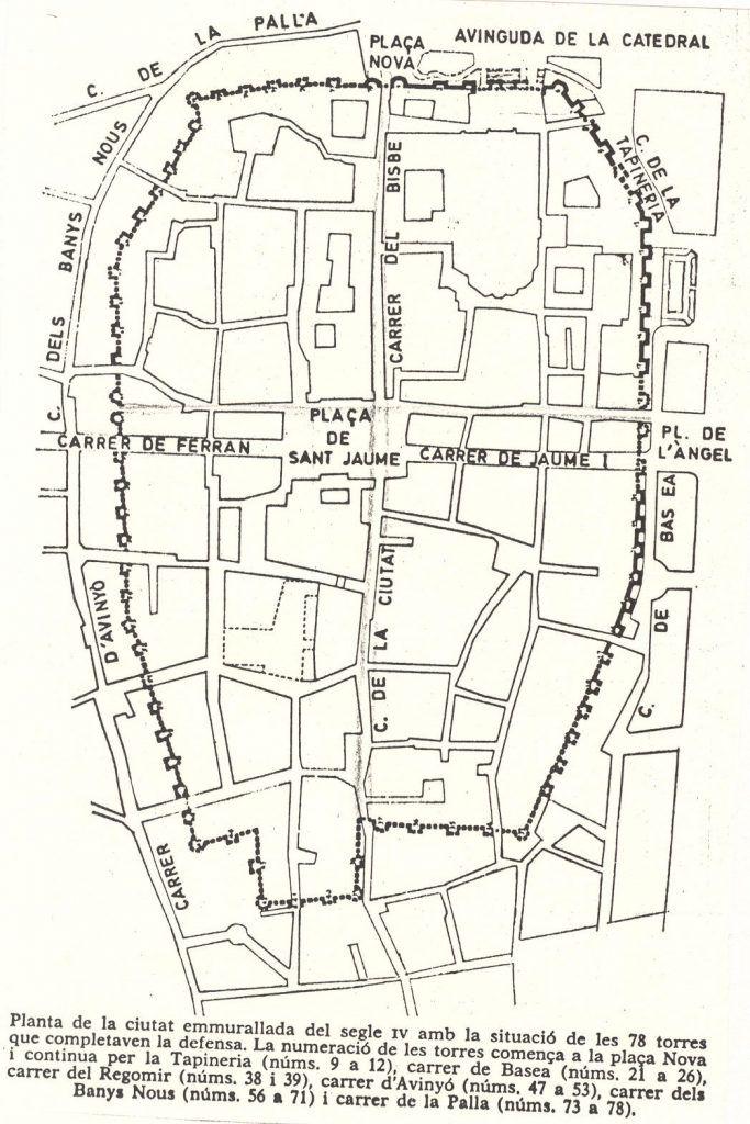 Mapa de la muralla romana de Barcelona