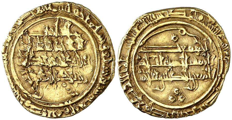 Dinar de Oro de Tamim al-Mustansir de Málaga. Año 477H
