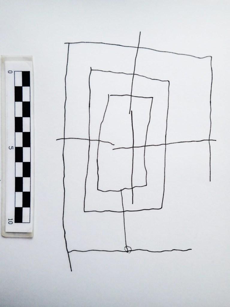 Croquis del molino de doce grabado en San Román de Tobillas. Antzoka Martínez Velasco