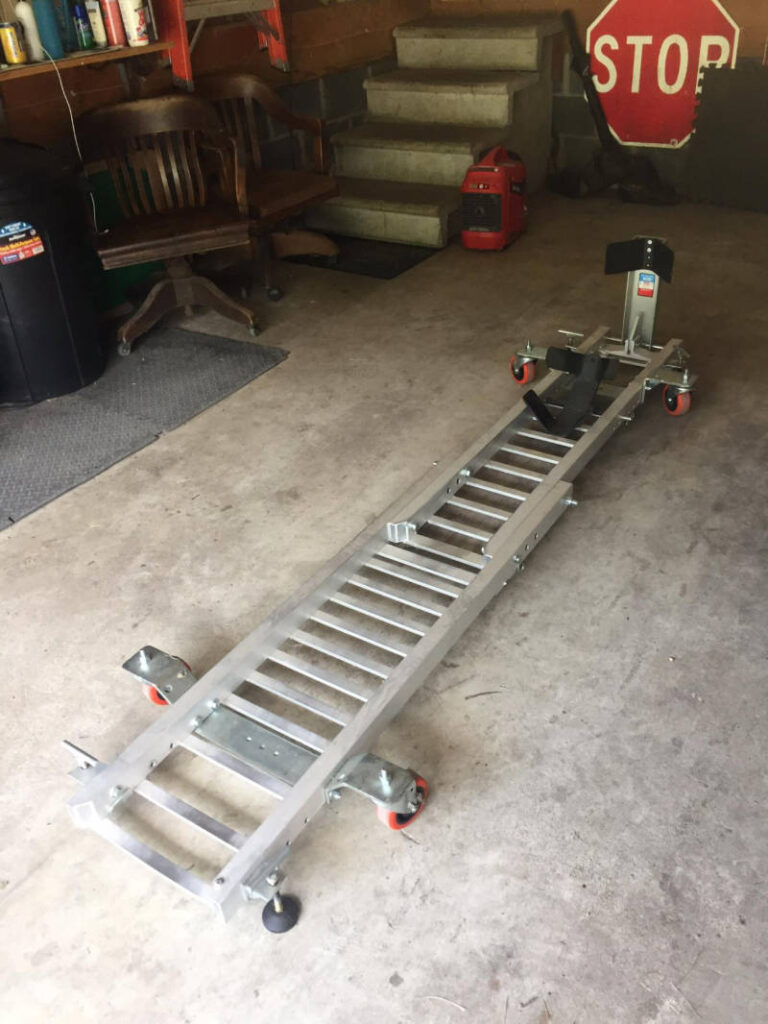 An empty motorcycle garage dolly