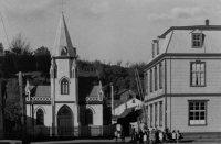 Die alte Kirche von Puerto Montt, eingeweiht am 13.September 1891, zerstört am 22. Mai 1960.