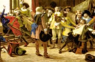 Der sogenannte Zweite Prager Fenstersturz am 23. Mai 1618: Vertreter der protestantischen Stände stürzen zwei königlichen Statthalter sowie einen Kanzleisekretär aus der Prager Burg. Die drei Opfer überlebten, doch der Fenstersturz markierte den Beginn des Aufstands der böhmischen Protestanten gegen die katholischen Habsburger und gilt als Auslöser des Dreißigjährigen Krieges (1618–1648).