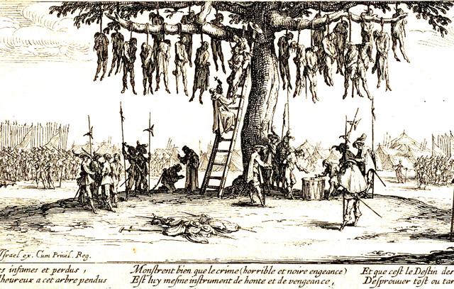 Der Galgenbaum: Darstellung von Kriegsgräueln während des Dreißigjährigen Krieges nach Jacques Callot (1632)