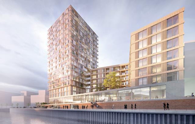In der Hamburger Hafencity wird derzeit die «Wildspitze» gebaut. Das 64 Meter hohe Gebäude soll 2021 bezugsfertig werden.