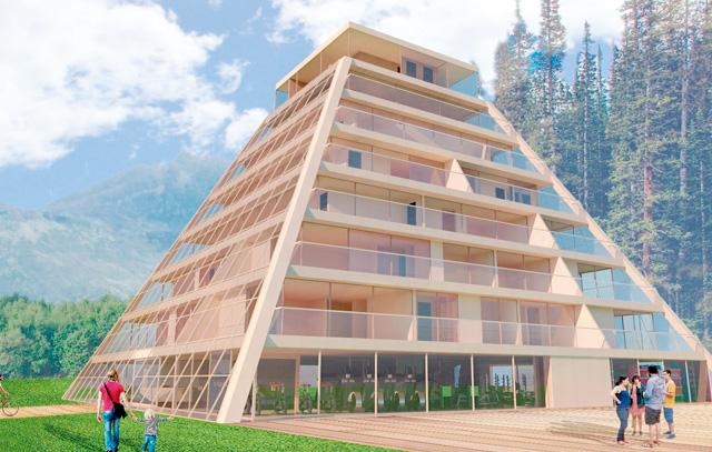 Mit dem innovativen Baustoff CLT (Kreuzlagenholz) will die Firma Kaiasul Wood in Chile bauen. Das Bild zeigt das Modell eines Passivenergie-Gebäudes, an dessen Scheiben Photovoltaikzellen angebracht sind.