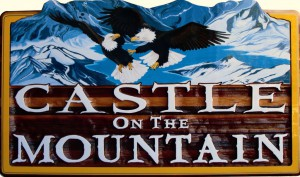 Castle on the Mountain bed and breakfast signs Vernon BC sand carved and sandblasted, hand crafted by Condor signs