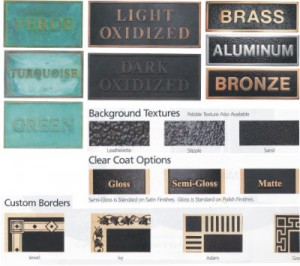 Image details and finishes for bronze olaques by condor signs