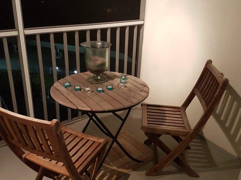 Lanai teak chairs and table