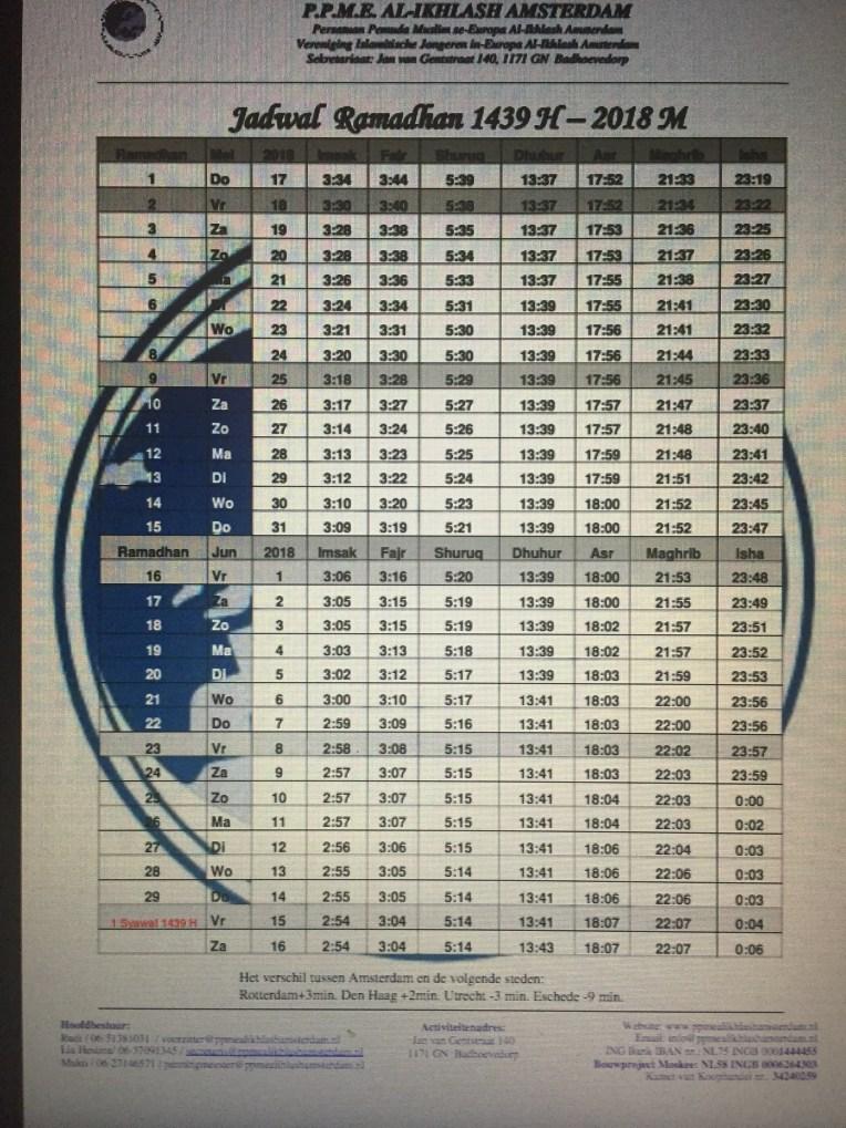 Jadwal Ramadan Den Haag 2018