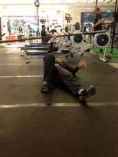 step 1 while holding the barbell above your head, get up onto your elbow.