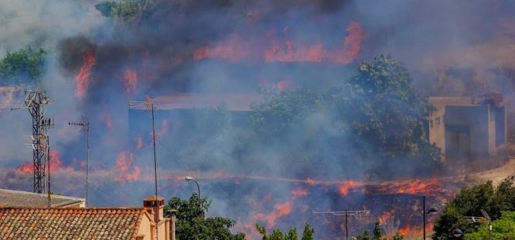 S'incendia un canyar al riu canyoles