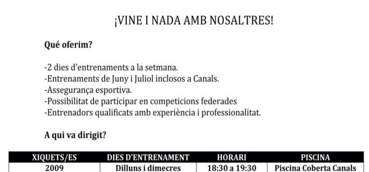 El Club Natació La Costera de Canals obri un nou periode d'inscripcions per a nous nadadors/es.