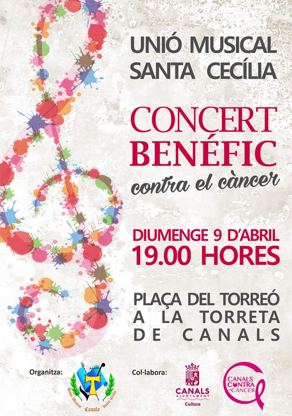 Concierto benéfico contra el cáncer de la Unión Musical Santa Cecilia de Canals este domingo
