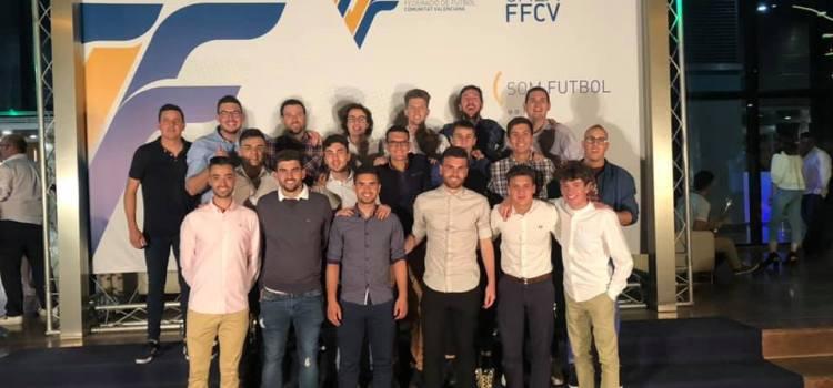 Representació de la UD Canals a la Gala de la FFCV anit en Alcira.