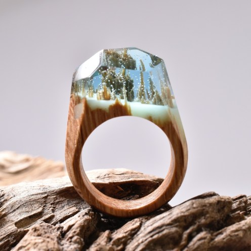 Secret Wood magical world in wood and resin rings on Cone Magazine