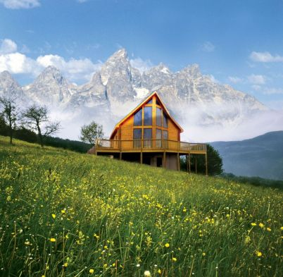log house in mountains