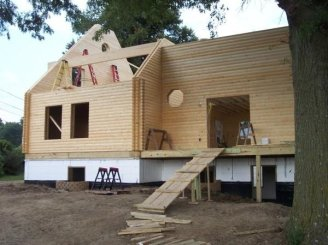 log home construction progress