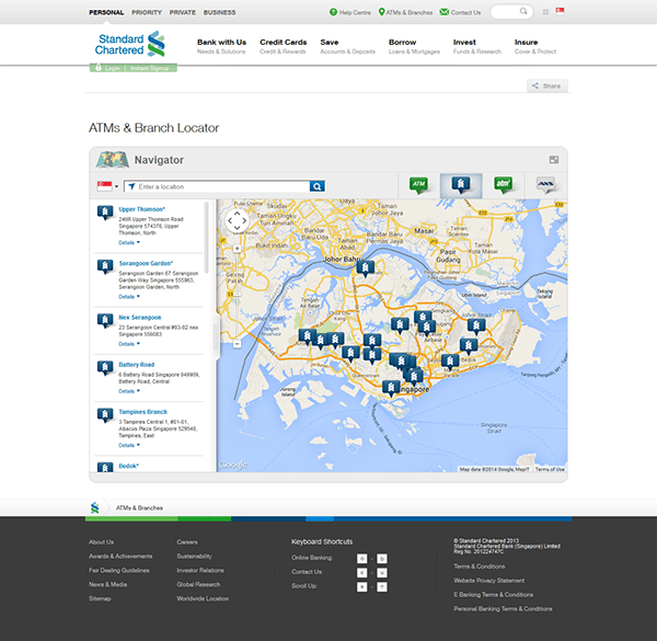 Standard Chartered Bank ATM Locator Web App - Cone Trees