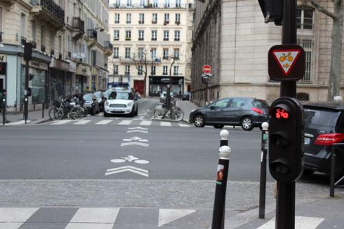 Exemplo de sinalização para ciclistas em Paris