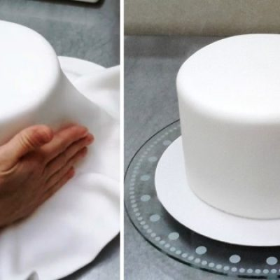 Cover cake with fondant