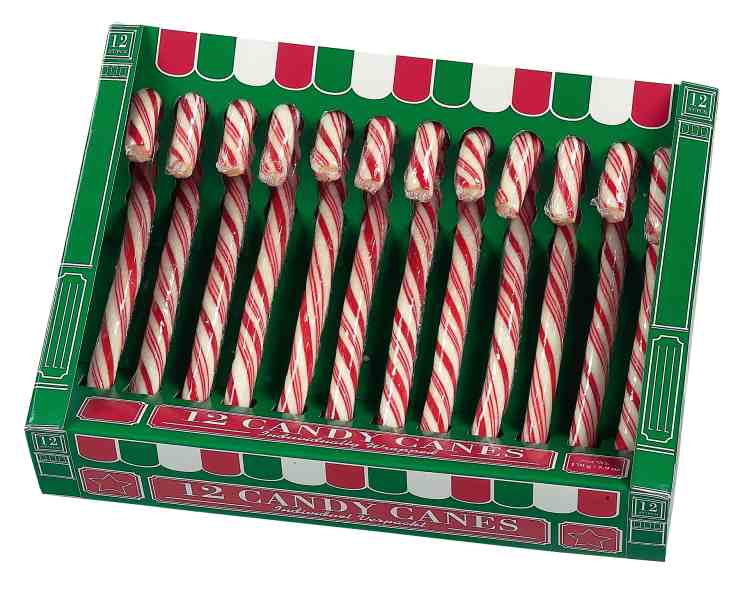 Red And White Candy Canes Box 12 S