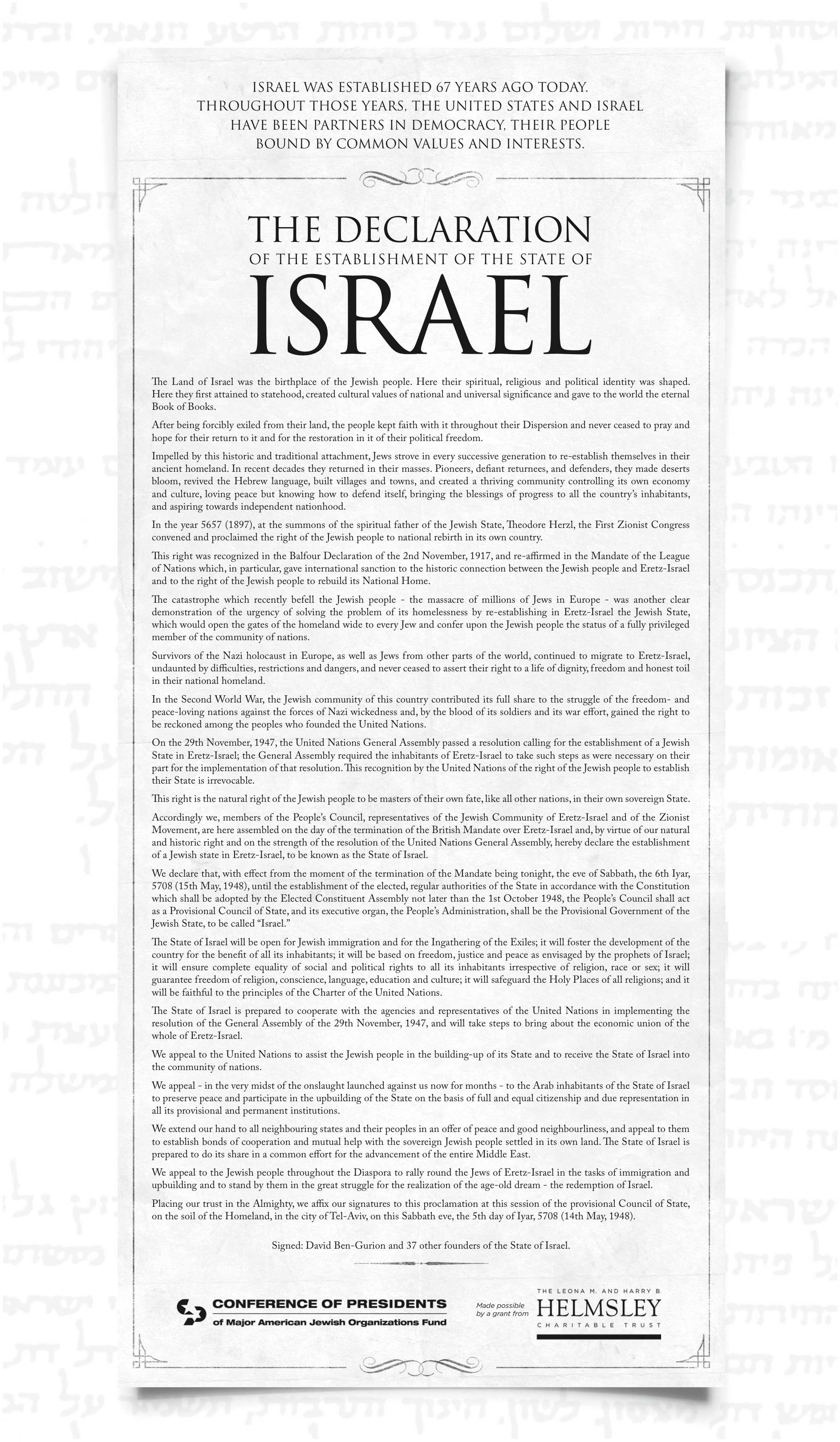 The Declaration Of The Establishment Of The State Of