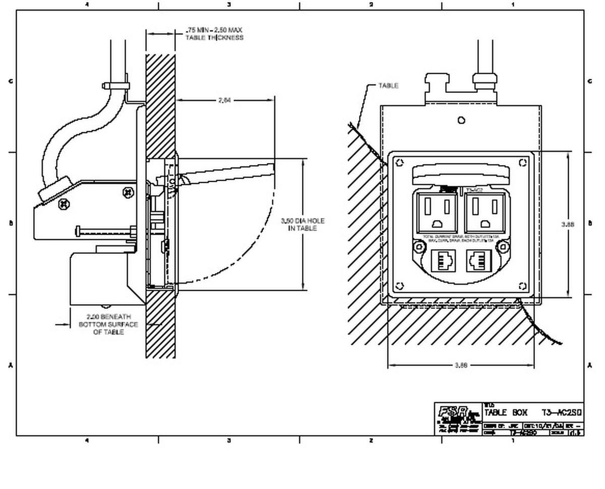 Fsr T3 Ac2 Sqalu Square Power And Data Grommett 2ac Amp 2