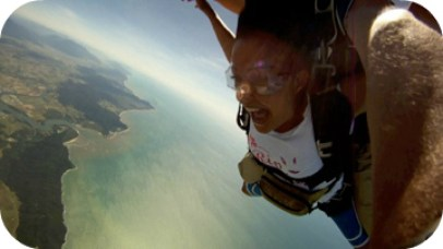 Sky diving over the Great Barrier Reef