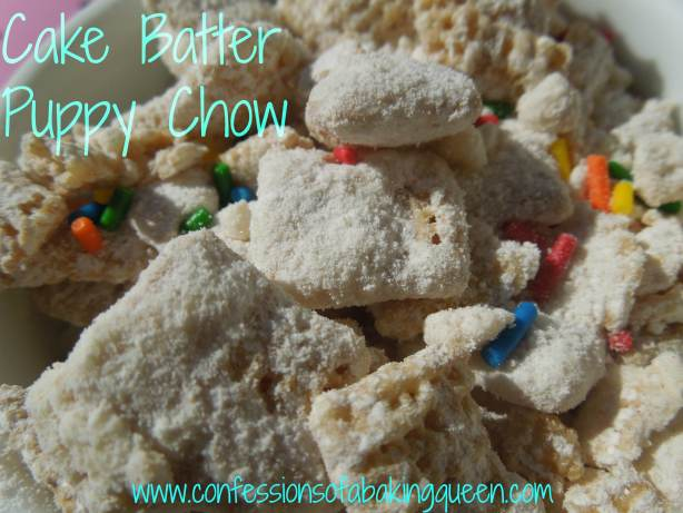 close up of cake batter puppy chow