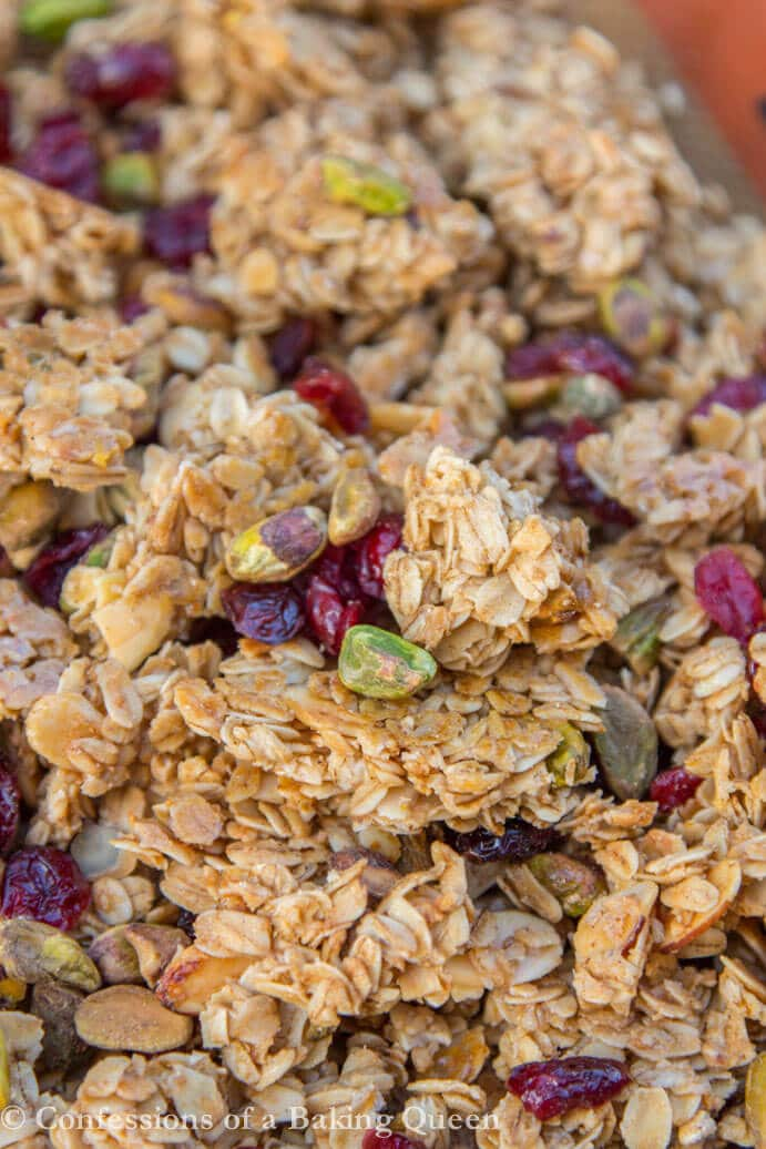 up close Christmas Granola clusters on silpat sheet